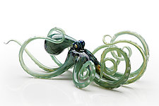Octopus in Seagreen by Jennifer Caldwell and Jason Chakravarty (Art Glass Sculpture)