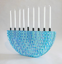 Blue Tapestry Menorah by Richard Parrish (Art Glass Menorah)