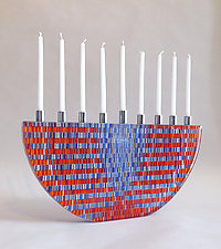 Jewel Tone Tapestry Menorah by Richard Parrish (Art Glass Menorah)