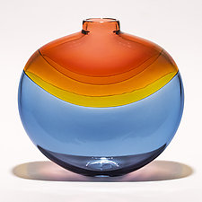 Transparent Banded Flat Vase in Salmon, Topaz, and Steel by Michael Trimpol and Monique LaJeunesse (Art Glass Vase)