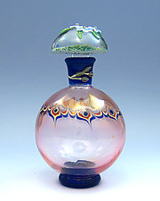 Pink Perfume with Forget Me Nots by Chris Pantos (Art Glass Perfume Bottle)