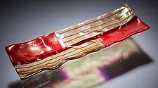 Textured Red and Gold Platter by Varda Avnisan (Art Glass Platter)