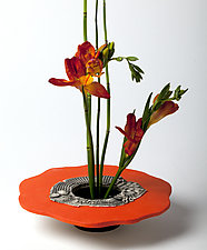 Bright Orange Ikebana Vase by Susan Wills (Ceramic Vase)