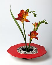 Vivid Red Ikebana Vase by Susan Wills (Ceramic Vase)