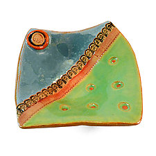 Orange Dots by Laurie Pollpeter Eskenazi (Ceramic Plate)