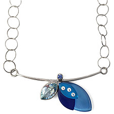 Marquise Composition Necklace by Debra Adelson (Silver, Stone, & Acrylic Necklace)