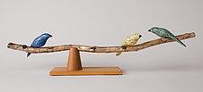 Birds On Branch by Paul Sumner (Wood Sculpture)