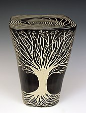 Square Tree Table by Larry Halvorsen (Ceramic Side Table)
