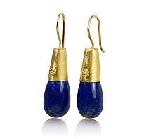 Lapis Granulated Gold Earrings by Nancy Troske (Gold & Stone Earrings)