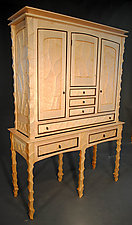 Tall Sculpted Case on Stand by John Wesley Williams (Wood Cabinet)