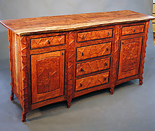 Sculpted Bubinga Sideboard with Live Edge Top by John Wesley Williams (Wood Sideboard)