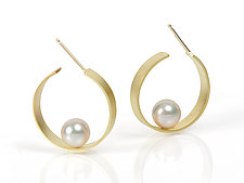 Hoop with Pearl by Tom McGurrin (Gold or Silver & Pearl Earrings)