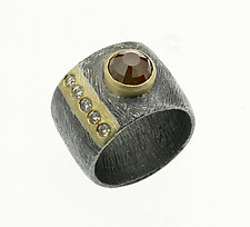 Carved Vertical Stripe Ring by Heather Guidero (Gold, Silver, & Stone Ring)