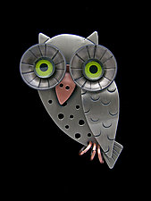 Wise Owl Pin by Lisa and Scott  Cylinder (Metal Brooch)