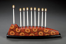 Ruby Red Menorah by Kimberly D. Winkle (Wood Menorah)