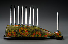 Green Menorah by Kimberly D. Winkle (Wood Menorah)