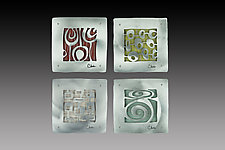 Four Bold Patterns with Multi Color Backgrounds by Cherie Haney (Metal Wall Sculpture)
