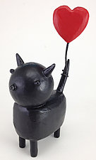 Black Cat with Heart Balloon by Hilary Pfeifer (Wood Sculpture)