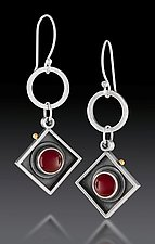 Hanging Squares with Orange by Michele LeVett (Gold, Silver & Stone Earrings)