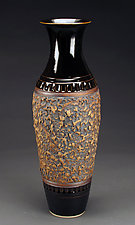 Large Black Texture Vase by Daniel  Bennett (Ceramic Vase)