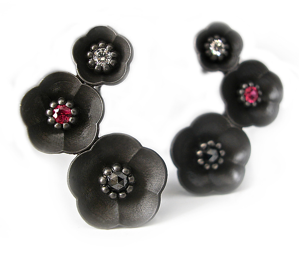 Cherry Blossom Climbing Earring #1 in Blackened Silver with Diamonds and Rubies
