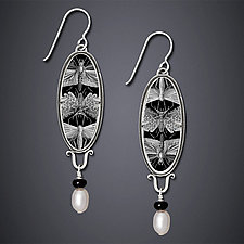 Etymology Earrings by Dawn Estrin (Silver & Pearl Earrings)