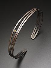 Hammered Cuff with Yellow Diamond by Randi Chervitz (Silver & Stone Bracelet)