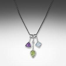 3 Stick Peridot Necklace by Suzanne Q Evon (Silver & Stone Necklace)