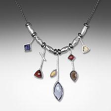 5 Stick Iolite and White Rhodium Necklace by Suzanne Q Evon (Rhodium & Stone Necklace)