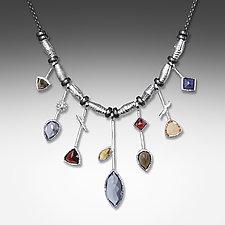 7 Stick Iolite & White Rhodium Necklace by Suzanne Q Evon (Rhodium & Stone Necklace)