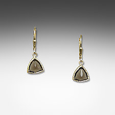 Gold Smoky Quartz Trillion Earrings by Suzanne Q Evon (Gold & Stone Earrings)