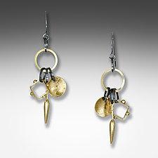 Triple Charm Earrings by Suzanne Q Evon (Gold & Silver Earrings)