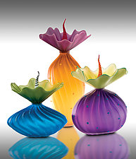 Colorful Trio by Bob Kliss and Laurie Kliss (Art Glass Sculpture)