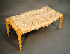 Carved and Curved Two Seat Bench by John Wesley Williams (Wood Bench)