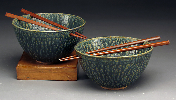 Blue Green Rice Bowls with Chopsticks