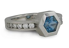 Series 27 - Hex. Aquamarine and Diamond Ring - Size 6.25 by Catherine Iskiw (Gold & Stone Ring)