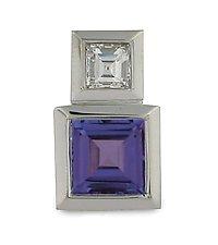 Series 17 - Platinum Pendant with 6 mm Tanzanite and Diamond by Catherine Iskiw (Platinum & Stone Pendant)