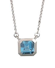 Oblique Pendant in 18k with Aquamarine by Catherine Iskiw (Gold & Stone Pendant)