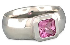Series 20 - Ring in 18KPW with Pink Sapphire - Size 6.5 by Catherine Iskiw (Gold & Stone Ring)
