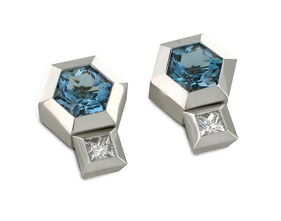 S27-Hex. Aqua. Earrings + Jackets by Catherine Iskiw (Gold & Stone Earrings)