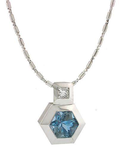 Series 27 - Hex. Aquamarine and Diamond Pendant by Catherine Iskiw (Gold & Stone Necklace)