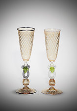 Toasting Flute Set by Michael  Hermann and Gina Lunn (Art Glass Stemware)