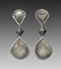 Double Medium Teardrop by John Siever (Silver Earrings)