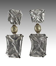 Double Squares with Bead by John Siever (Silver Earrings)