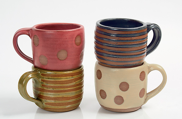 Stripe & Dot Mugs