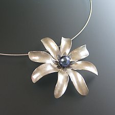 Simple Dahlia Pendant Necklace with White Pearl by Theresa Kwong (Silver & Pearl Necklace)