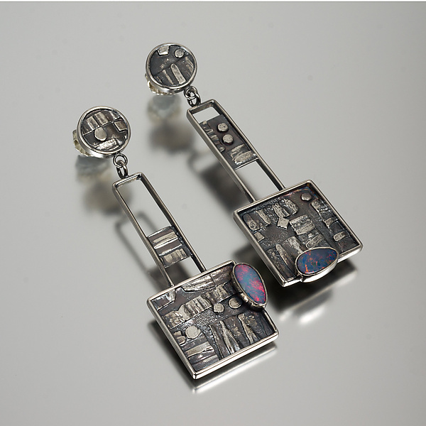 Geometric Fusion Earrings in Silver and Opal