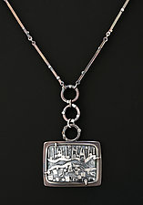 Abstract Silver Landscape Pendant by Jan Van Diver (Silver Necklace)