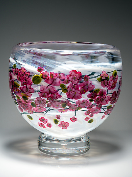 Cherry Blossom Footed Bowl on White