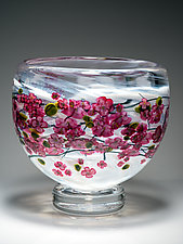 Cherry Blossom Footed Bowl on White by Shawn Messenger (Art Glass Bowl)